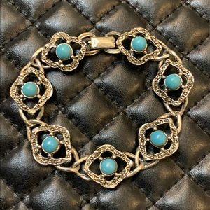 Vintage Sara Cov Faux Turquoise Silver Bracelet